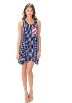 We love this dress for the fourth or any time in the summer!  Wear to the pool party, a hot night out or just for a walk on the beach! Comfy blend with some stretch to it!  Runs true to size!