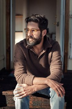brown knit sweater, beard, hair, glasses