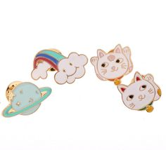 X025  Free shipping Dedicate Planet Cloud Fortune Cat Brooch Pins,Fashion Jewelry Wholesale