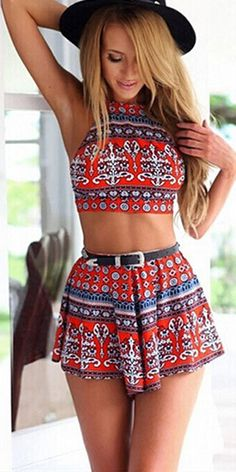 Sexy Floral Print Backless Tops + Shorts Two-piece Set