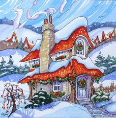 Original Whimsical Storybook Cottage Winter by StoneHouseArtists