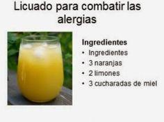 TU SALUD:JUGO Y REMEDIO PARA COMBATIR LAS ALERGIAS. Ingredientes : 3 naranjas , 2 limones, 3 cucharadas de miel. Preparación: Lavar perfectamente las naranjas y el limón. Extraer el jugo de las frutas, vaciarlos a un vaso y endulza con la miel. Es importante consumirlo a menudo en temporadas de frío, a sorbos pequeños.