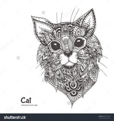Hand-Drawn Cat With Ethnic Floral Doodle Pattern. Coloring Page - Zendala, Design For Spiritual Relaxation For Adults, Vector Illustration, Isolated On A White Background. Zen Doodles. - 403577644 : Shutterstock