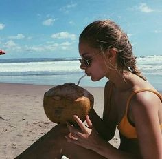 #coconut #coconutwater #healthy #girl #braid #sunglasses #bikini #tan #beach #sea #followus #sun #weather