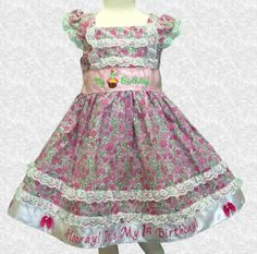 Savannah Baby Girls Flower Print Dress by MyFirstBirthdayDress, $65.00