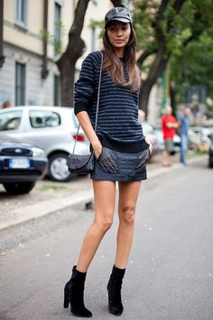 STREET STYLE SPRING 2013: MILAN FW - Joan Smalls embraces the luxe cap look.