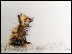 Big world - beautiful little fox painted in watercolours by L J Holmes. #Art #Nature #BritishWildlife