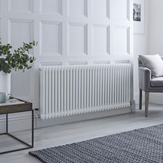 Milano Windsor - Horizontal Double Column White Traditional Cast Iron Style Radiator - x - Valerie Horizontal Radiators, Column Radiators, Wall Radiators, Solid Brick, Brick And Wood, Traditional Interior, Traditional Design, Traditional Radiators, Cast Iron