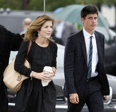 Caroline Kennedy and her son John arrive at the John F. Kennedy Presidential Library in Boston where the casket of Sen. Edward Kennedy will be taken, Saturday, Aug. 29, 2009. Kennedy died late Tuesday after a battle with cancer. He was 77.