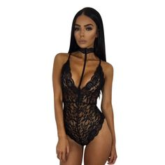 Hot Price Ruoru Deep V Neck Sexy Bodysuit Solid Choker Mesh Lace Bodysuit  Women Bodycon Catsuit Body Femme Leotard Summer Playsuit Female 2becb1a9bf3