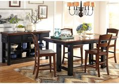 Marileze Counter Height Extension Table And 4 Barstools 73000