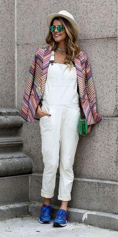 #NYFW Spring 2015 Street Style   White overalls