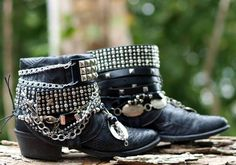 upcycled cowboy boots from TheLookFactory on Etsy Hippie Boots, Boho Boots, Botas Boho, Boot Bracelet, Boot Jewelry, Boot Bling, Decorated Shoes, Rock Outfits, Boot Cuffs