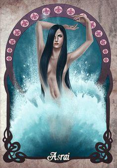 Asrai, fadas d'água. Ilustração de Carolina Mylius especialmente para o livro.