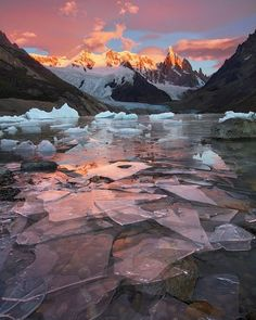 A red sky and shards of ice near Cerro Torre Patagonia  #mountains #ice #landscape #sky #nature #freeyork #travel