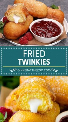 These fried Twinkies feature the classic snack cakes coated in a sweet batter, then deep fried to golden brown perfection. Add a sprinkle of powdered sugar and a side of raspberry sauce for a unique and decadent dessert. Oats Recipes, Donut Recipes, Brunch Recipes, Easy Dinner Recipes, Vegan Recipes, Dessert Recipes, Cooking Recipes, Cooking Tips, Breakfast Recipes
