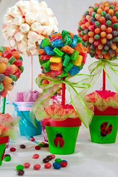 girls first birthday Candy Trees, Candy Topiary, Candy Flowers, Candy Centerpieces, Sweet Trees, Troll Party, Candy Crafts, Candy Bouquet, Candy Table