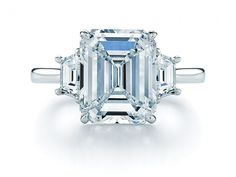 Emerald Cut Diamond Ring with Two Trapezoids    Get it now: Emerald cut diamond and platinum ring with two trapezoids, price on request at kwiat.com