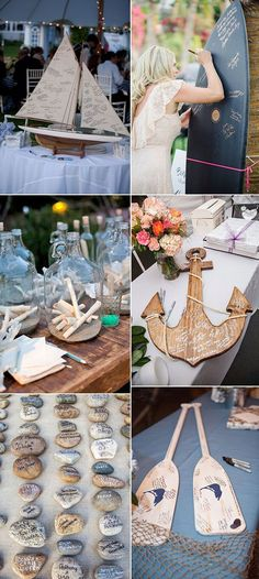 beach and nautical themed wedding guest book ideas