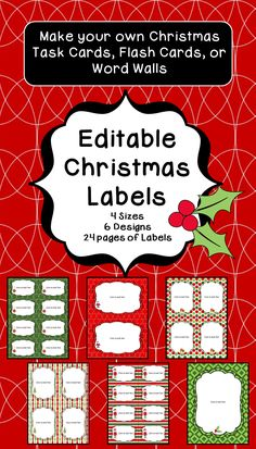 Make your own Christmas Task Cards, Flash Cards or Word Walls with these Editable Christmas Labels. Labels come in 4 different sizes with 6 different designs. The large label is great for letters home to parents or classroom signs.  24 total pages of Labels.