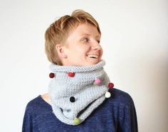 Hand Knit Cowl, Knit Neckwarmer, Gray Knit Snood, Circle scarf,  Winter Fashion, Christmas annivesary gift for her on Etsy, $35.00
