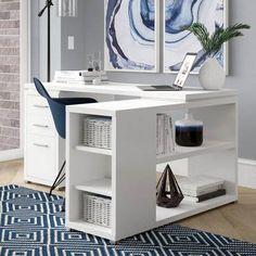 Senga Reversible L-Shape Executive Desk – Executive Home Office Design Mesa Home Office, Home Office Desks, Home Office Furniture, Office Decor, Office Ideas, Office Designs, Desk Ideas, Office Spaces, Furniture Ideas