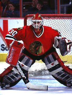 """Ed Belfour. Yeah, I know I've posted pics of Ed Belfour several times, but """"Eddie the Eagle"""" is one of my favorite Blackhawks of all time. Chicago Blackhawks, Chicago Hockey, Blackhawks Hockey, Hockey Goalie, Hockey Games, Chicago Bulls, Ice Hockey, Blackhawks News, Hockey Baby"""