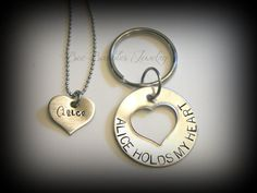 Hand Stamped Heart Necklace with Mens key chain - Couples jewelry - Personalized Jewelry - Hand Stamped Stainless Steel on Etsy, $27.00