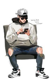 Rabbit's media content and analytics Arte Dope, Dope Art, Dope Cartoons, Cute Cartoon Pictures, Exo Fan Art, Boy Drawing, Cute Anime Guys, Cute Cartoon Wallpapers, Kpop Fanart
