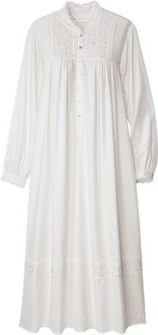 Eileen West Splendor Gown is beautifully adorned with embroidered flowers at the shoulder yoke, cuffs and hem. Sleep in elegance with this breathable cotton nightgown.