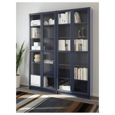 Billy Bookcase Hutch New Billy Oxberg Bookcase Dark Blue Cm Ikea Bookcase With Glass Doors, Glass Cabinet Doors, Glass Shelves, Storage Shelves, Storage Units, Record Storage, China Cabinet, Billy Ikea, Ikea Billy Bookcase Hack