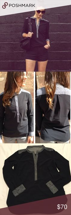 Lululemon Black Get It On Blouse In excellent condition- like new! Removed the pull tag, so I'm guessing the size is an 8. Second pics are from Lululemonaddict.com. lululemon athletica Tops Blouses