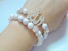 Silver Allah Charm Bracelet Set With White Turquoise Beads