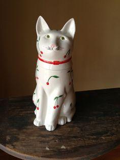 Vintage Cat Cookie Jar Large Cherry Pattern by StylishPiggy, $45.00