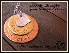 Hand Stamped Stacked Mixed Metal Necklace w/Sterling Silver Hammered Heart for Moms, Grandmas, Friends. $35.00, via Etsy.