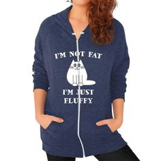 Im not fat im just fluffy Zip Hoodie (on woman)