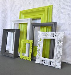 Reserved for Tara...Lime Green, Grey White Frames Set of 6 - Upcycled Frames Modern Bedroom Decor. $49.00, via Etsy.