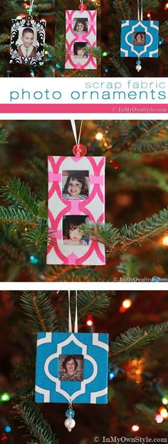 Scrap fabric Christmas crafts. Use up scrap fabric even the smallest pieces to make these colorful photo handmade Christmas tree ornaments | In My Own Style