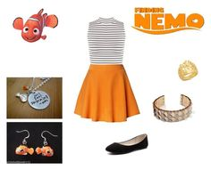 """""""Nemo"""" by we-are-walt-disney ❤ liked on Polyvore featuring Disney, WearAll, Chicwish, Verali, orange, disney and skirts"""