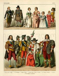 English Costume 1600. Illustration from The Costumes of All Nations by Albert Kretschmer and Carl Rohrbach (Sotheran, 1882).