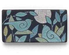 Aves, 3 x 6, baldosa cerámica, la luna, hecho a mano, de pared arte, decoración casera, azulejo del arte fuego raku