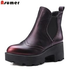 65.00$  Buy now - http://aliqtt.worldwells.pw/go.php?t=32711771516 - Elastic band red wine Genuine leather high heel plain skid resistance ankle boots queen footwear college fashion women boots