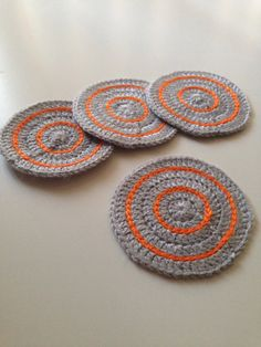 Crochet Coasters in Light Grey and Orange  Set of 4 by kylieB, $15.00