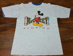 Vintage 80s Walt Disney Mickey Mouse Florida Velva Sheen T-Shirt Men Adult Large #Disney