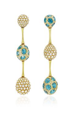 One Of A Kind Blue Zircon And Diamond Baton Ear Pendants by Nicholas Varney for Preorder on Moda Operandi