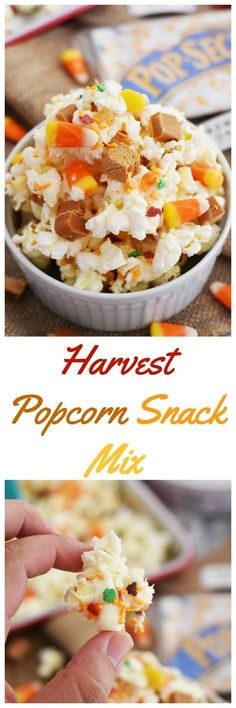 Harvest Popcorn Snack Mix- A sweet and savory concoction that is sure to satisfy your sweet tooth. This is a perfect fall party mix to enjoy with a movie. via @savvysavingcoup #Pop4Captain #Pmedia #ad @walmart @lancesnacks @popsecret