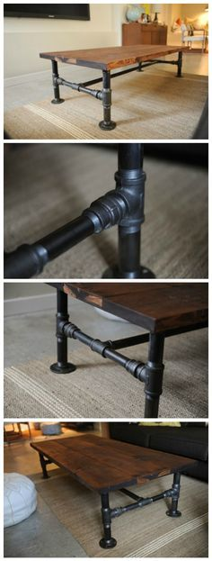 How To: DIY Industrial Coffee Table Coffee Table Ideas of Coffee Table Diy Wood Projects Cof Coffee DIY ideas Industrial Table Industrial House, Industrial Interiors, Industrial Chic, Industrial Furniture, Industrial Lighting, Industrial Farmhouse, Industrial Windows, Industrial Coffee Tables, Industrial Apartment