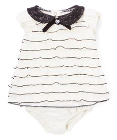 Take a look at this Cream Stripe Flutter-Sleeve Dress & Diaper Cover - Infant today!
