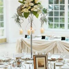 Tall Blue and White Centerpieces