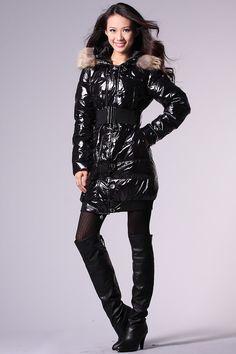 OTK boots and shiny puffy jacket.
